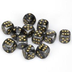 12 D6 Lustrous 16mm Dice Black w/gold - CHX27698