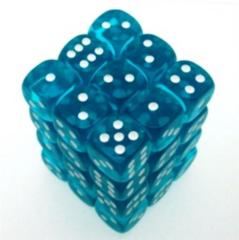 36 D6 Translucent 12mm Dice Teal w/white - CHX23815
