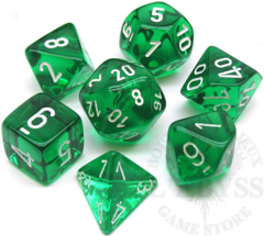 7 Mini-Polyhedral Dice Set Translucent Green/White - CHX23055