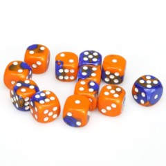 12 D6 Gemini 16mm Dice Blue-Orange /white - CHX26652