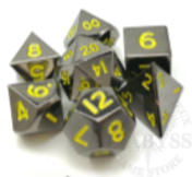 7 Mini Polyhedral Metal Dice Set Black / Yellow - LD-MMGY