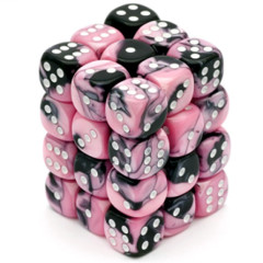 36 D6 Gemini 12mm Dice Black-Pink w/white - CHX26830