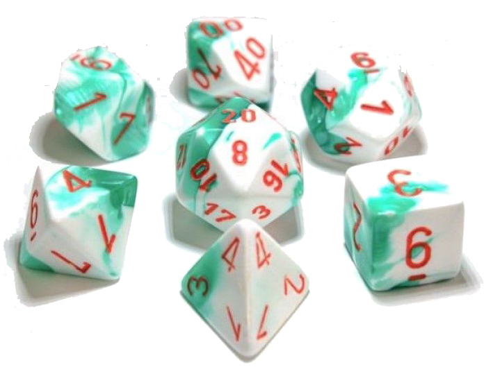 7 Polyhedral Dice Set Gemini Mint Green-White / Orange - CHX30020