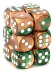 12 D6 Gemini 16mm Dice Copper-Green/White - CHX26637
