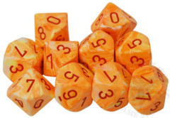 10 D10 Festive Dice Sunburst with Red - CHX27253