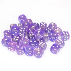 36 D6 Borealis 12mm Dice Purple w/white - CHX27807