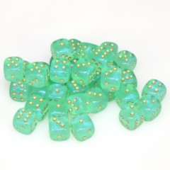 36 D6 Borealis 12mm Dice Light Green w/gold - CHX27825