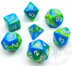 7 Mini Polyhedral LD Dice Set Aquamarine - LD-MAQ
