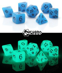 7 Polyhedral RPG Dice Set - Glow-in-the-Dark Blue