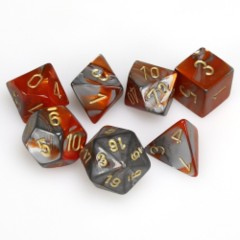 7 Polyhedral Dice Set Gemini Orange-Steel w/gold - CHX26461