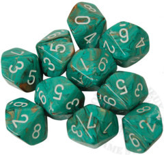 10 D10 Marble Dice Oxi-Copper with White - CHX27203