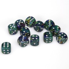 12 D6 Festive 16mm Dice Green w/silver - CHX27645