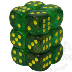12 D6 Borealis 16mm Dice Maple Green with Yellow - CHX27765