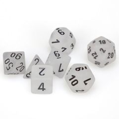 7 Polyhedral Dice Set Frosted Clear w/Black - CHX27401