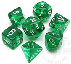7 Polyhedral Dice Set Translucent Green with White - CHX23075