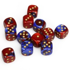 12 D6 Gemini 16mm Dice Blue-Red w/Gold - CHX26629
