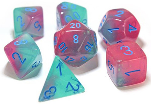7 Polyhedral Dice Set Gemini Green-Pink / Blue - CHX30023