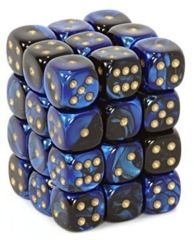 36 D6 Gemini 12mm Dice Black-Blue w/Gold - CHX26835