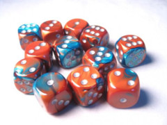 12 D6 Gemini 16mm Dice Copper-Teal .silver - CHX26653