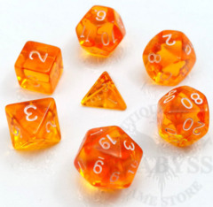 7 Mini Polyhedral LD Dice Set Orange Translucent - LD-MOT