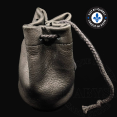 Premium Leather Dice Bag - Black Small