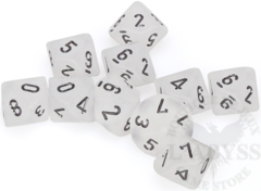 10 D10 Frosted Dice Clear with Black - CHX27201