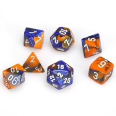 7 Polyhedral Dice Set Gemini Blue-Orange w/White - CHX26452