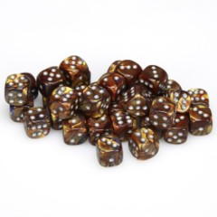 36 D6 Lustrous 12mm Dice Gold w/silver - CHX27893
