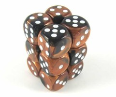 12 D6 Gemini 16mm Dice Black-Copper/whte - CHX26627