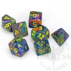 7 Polyhedral Dice Set Festive Rio with yellow - CHX27449