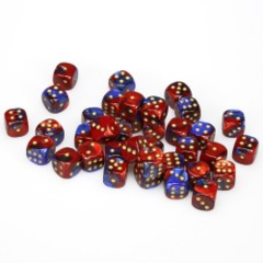 36 D6 Gemini 12mm Dice Blue-red w/gold - CHX26829