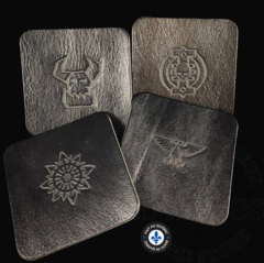 Premium Leather Coasters - Square Black