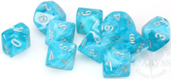 10 d10 Cirrus Dice Aqua with Silver - CHX27265
