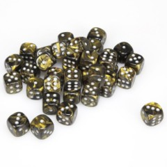 36 D6 Leaf 12mm Dice Black Gold w/silver - CHX27818