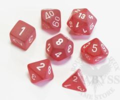 7 Polyhedral Dice Set Frosted Red with White - CHXLE427