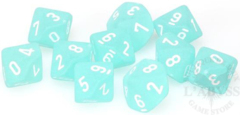 10 D10 Frosted Dice Teal with White - CHX27205