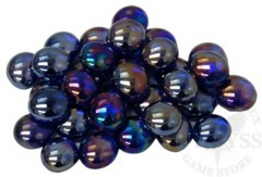 Glass Gaming Stones - Crystal Dark Blue Iridized 40+ (CHX01176)