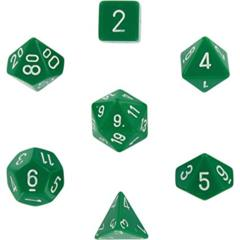 7 Polyhedral Dice Set Opaque Green / White - CHX25405
