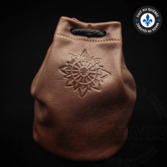 Premium Leather Dice Bag - Chaos Brown Small