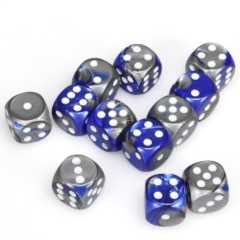 12 D6 Gemini 16mm Dice Blue-Steel /white - CHX26623