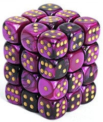 36 D6 Gemini 12mm Dice Black-Purple/Gold - CHX26840