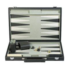 Backgammon - Jacquet (dark-grey leather)