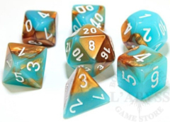 7 Polyhedral Dice Set Gemini Copper-Turquoise / White - CHX30019