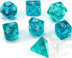 7 Mini-Polyhedral Dice Set Translucent Teal/White - CHX23065
