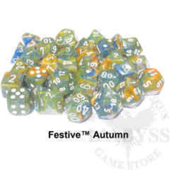 7 Polyhedral Dice Set Festive Autumn and White - CHX 30001