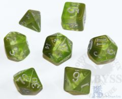 7 Polyhedral LD Birthday Dice Set August Peridot - LD-BDPER3