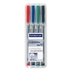Staedtler Lumocolour Medium Wet-Erase Pens (4) - Mat Marker Set CHX 03154