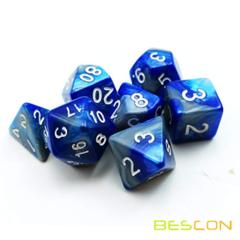 Bescon Gemini Two Tone Polyhedral RPG Dice Set 17324 Steel Blue
