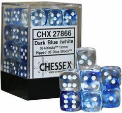 Chessex 36 12mm d6 - Dark Blue w/White Nebula CHX 27866