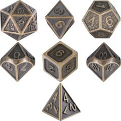 TecUnite Heavy Duty Metal Dice Set Ancient Brass (7)